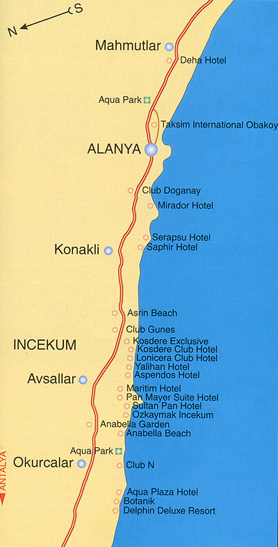 Аланья. Карта отелей. (Alanya hotel map)