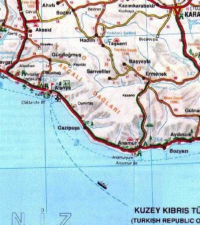 Карта окрестнотсей Аланьи