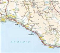 Аланья. Карта Окрестностей.
