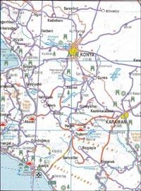 Карта окрестностей Аланьи, Коньи.