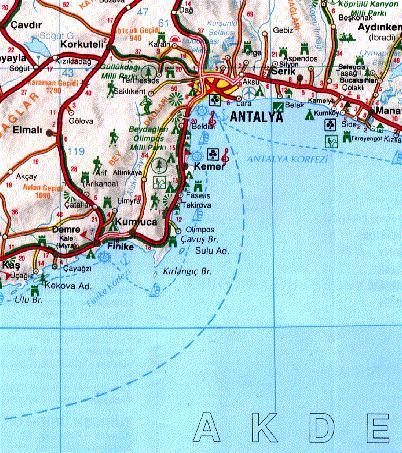 Карта окрестностей Анталии