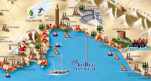 Достопримечательности Анталии, Кемера на карте